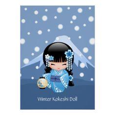 Poupée japonaise de Kokeshi d'hiver Poster