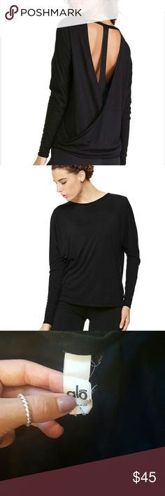HOST PICK Alo Yoga Cinder long sleeve top 65% polyester 35% viscose Lightweight, fitted ribbed sleeves, back cut outs ALO Yoga Tops