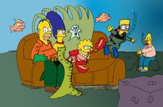 The Simpsons underwater couch gag