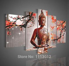 High Quality Red Moon Buddha Plum Flower Oil Painting On Canvas 5pcs Home Wall Art Set Decoration Modern Picture For Living Room