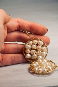 Round Shaped Earrings, Pearl Earrings, Gold Plated Earrings, Freshwater Pearl, White Pearls, 14K, June Birthstone, Bridal Jewelry