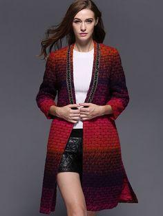 Multicolor Long Sleeve Beading Tie-Waist Pockets Coat