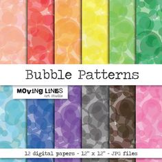 Bubble Pattern Digital Papers Colorful Bright by MovingLines, $3.90
