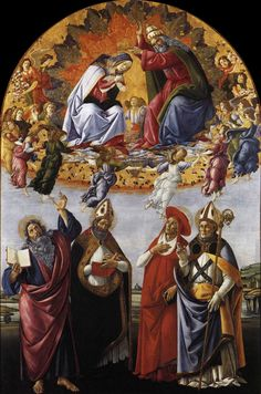 Coronation of the Virgin. Sandro Botticelli. 1488-1490. Tempera on Panel. 378 X 258 cm. Uffizi Gallery. Florence.