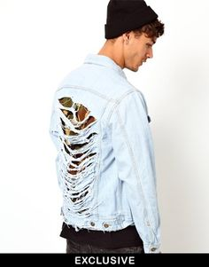 Reclaimed Vintage Denim Jacket With Ripped Camo Back