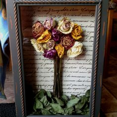 Shadow box dried roses