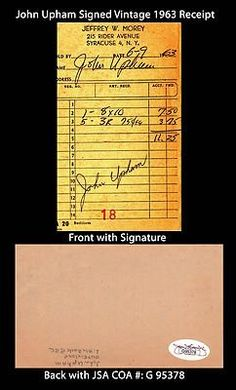"""John Upham Signed 3x5 Vintage 1963 Receipt Cut JSA COA Chicago Cubs 1967-1968 . $25.00. Major League Pinch Hitter, Pitcher and OutfielderJohn UphamHand Signed 3x5"""" Vintage 1963 ReceiptUpham Played For:Chicago Cubs 1967-1968.WONDERFUL AUTHENTIC JOHN UPHAM BASEBALL COLLECTIBLE!!SIGNATURE IS AUTHENTICATED BY JAMES SPENCE AUTHENTICATION (JSA) WITH NUMBERED JSA STICKER ON ITEM AND MATCHING JSA CERTIFICATE OF AUTHENTICITY (COA) INCLUDED WITH ITEMJSA COA: # G 95378"""