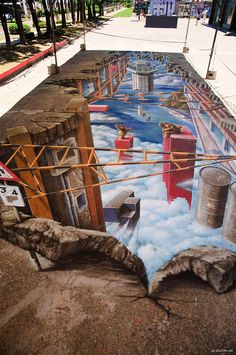 'Street in the Clouds' 3D Street Art                                                                                    |AmazingStreetArt|