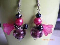 Lampwork pearl pink bell beads earrings