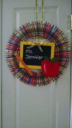 Teacher crayon wreath