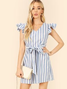 Shop Layered Ruffle Trim Self Belted Striped Dress online. SheIn offers Layered Ruffle Trim Self Belted Striped Dress & more to fit your fashionable needs. Belted Dress, Dress P, The Dress, Ruffle Dress, Striped Dress, Dress Clothes, Ruffle Sleeve, Ruffle Trim, Ruffles