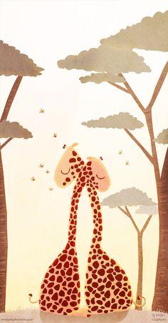 Giraffe I Love You Giraffe Art blank greeting card  Wild por nidhi