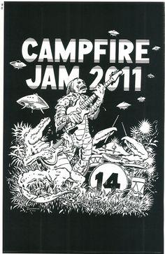 Campfire Jam 14 (Ink on Bristol) Copyright 2011 by James F. Baldwin, Jr. and Greenway Studio, LLC