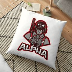 'I'm The Alpha Floor Pillow by CavemanMedia Work From Home Moms, Pillow Design, Floor Pillows, Decorative Throw Pillows, Cushions, Flooring, Art Prints, Printed, Awesome