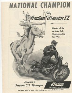 "Indian Motorcycle Ad 1951 9"" x 11"" 