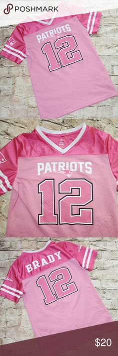 New England Patriots Jersey Girl XL Pink New England Patriots Jersey Girls XL Pink 12 Tom Brady NFL Team Apparel b15 Preowned in good condition No rips, tears or stains Pink and white #12 on the front Brady and #12 on the back Girls size XL No rips, tears or stains I have other items like this listed Thank you for looking! NFL Team Apparel Shirts & Tops
