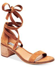 Steve Madden Women's Rizza Lace-Up Block-Heel Sandals - Sandals - Shoes - Macy's