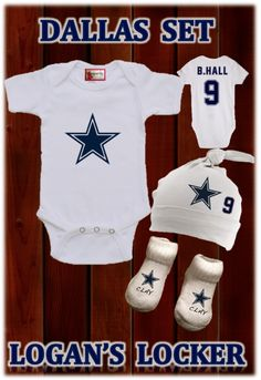 Dallas Set (Choose Your Name and Number) Logan's Locker Layla's Runway specializes in creating unique personalized apparel and accessories with a great look for your little boys or girls of all ages. Our personalized apparel products make great personalized gift ideas for friends and family and are perfect for new born babies, toddlers, teens birthdays, family reunions, fundraisers, special occasions. Whether its one item or one hundred, we look forward to gearing you up with our unique…