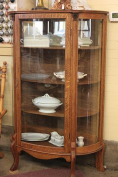refinishing hutches | Lighter finished, completely restored, China Cabinet... both Cabinets ...