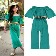 Kids Baby Girls Summer Off Shoulder Romper Long Jumpsuit Playsuit Outfit Clothes - Kids Clothing - Baby Girl Pants, Baby Girl Dresses, Baby Dress, Baby Girls, Kids Outfits Girls, Girl Outfits, Fashion Outfits, Fashion Clothes, Long Romper