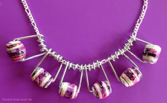 Purple Hues and Me: Clothespin Wire Jewelry Using Paper Napkin Beads