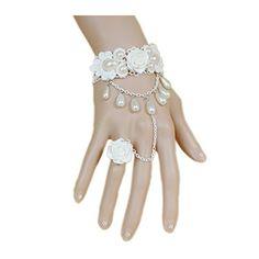 Lefinis White Rose Flower Beads Victorian Lace Vampire Vintage Bracelet Ring, Necklace Set: Lefinis Fashion Jewelry for Women, Men, Girls, Boys. Lace Bracelet, Ring Bracelet, Pearl Bracelet, Bracelets, Vintage Bracelet, White Rose Flower, Rose Lace, Women Jewelry, Fashion Jewelry