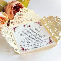Wedding invitation digital Pattern Card Template Lace folds ( svg, dxf, plt, ai, eps, png, pdf) lasercut Instant Download
