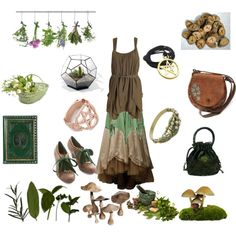 The Green Witch by samanthapina-1 on Polyvore featuring Poetic Licence, CO, Pamela Love, Sweet Romance and Garden Trading