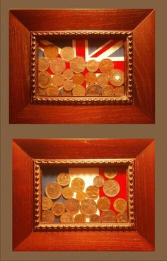 Foreign coins with coin's flag as a background! Such a great keepsake. Doing this ASAP!