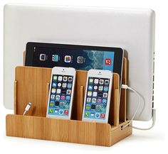 Bamboo Multicharging Station Hide all your cords and keep your gadgets organized and fully charged in one neat location. Slide your laptop, tablet and phones into one sleek bamboo holder for easy charging and tuck the cords away. You'll free up counter space and save yourself endless frustration over lost cords and dead phones. Every home needs one of these!