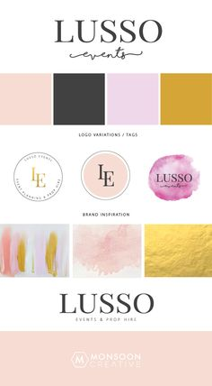 Lusso Events - Brand Development Event Logo, Monsoon, Eyeshadow, Branding, Events, Graphic Design, Digital, Creative, Inspiration