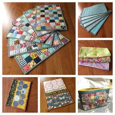 finally able to post #secretsewing for my SIL @iamcatreading - clockwise from top left: #operationscrappy #patchwork #placemats, aqua placemats backs, #infinityscarf x 3 in Heather Bailey #voile and #LibertyofLondon  #knit and #cottonlawn, 1 inch #scrappy patchwork Liberty #openwidepouch, interior and front of knitting pattern wallet with #modernhexies on front and inside clear vinyl and fabric pockets❤️ I really love #handmade  gifts! #cngfinish2014