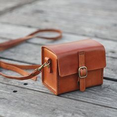 Classy Hand Stitched Tan caramel Leather Camera Case