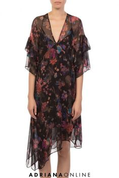 Expand your floral dress collection with this romantic floral dress by IRO. Available at ADRIANAONLINE. Floral Fashion, Dress Collection, Floral Prints, Cover Up, Romantic, Mini, Womens Fashion, Black, Dresses