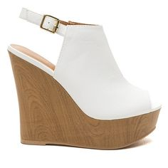 Wood You Peep My Peep-Toe Wedges WHITE ($30) ❤ liked on Polyvore featuring shoes, heels, heels and boots, wedges, white, white wedge shoes, peep toe shoes, white shoes, platform shoes and wooden platform shoes