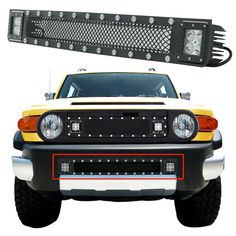 E-Autogrilles Rivet Black Stainless Steel Wire Mesh Bumper Grille with LED Lights for 07-14 Toyota FJ Cruiser (48-0976) -- Awesome products selected by Anna Churchill