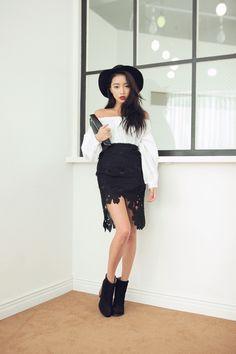 Asymmetric Floral Lace Skirt