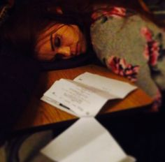 Ian Bohen Instagram: @ Holland Roden working hard learning her lines