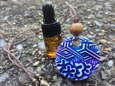 Essential Oil Diffuser Necklace Third Eye by MtnLilyBotanicals #indigo #oilblend #etsy #balance #necklace #yoga #balance #handmade