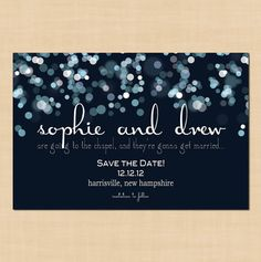 Sparkly Stars Save the Date Card  4 x 6 by BrownPaperMoon on Etsy, $10.00
