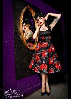 Courtesan Swing Dress in Red Rose Print