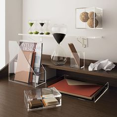 Upgrade your office. With modern desk accessories and office décor, including storage boxes, books ends and waste cans, you can give your space a lift.
