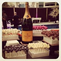 Veuve and cake pops = awesome combo #jackiecollins #newidea #veuve #cocktails #cakepops #thedarling #pooldeck