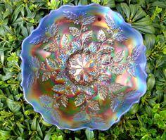 "Antique c1911""Fenton""VY RARE""Cobalt Blue Opalescent""Carnival Glass""Holly""XLNT   eBay"