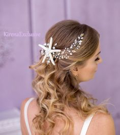 Beach wedding hair accessories starfish headpiece starfish h Beach Wedding Men, Beach Wedding Jewelry, Wedding Hair Side, Bridal Hair Vine, Wedding Hair Pieces, Wedding Hair Accessories, Bridal Crown, Bride Hairstyles, Trendy Hairstyles