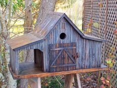 Country Farm Shed Birdhouse With Tin Roof