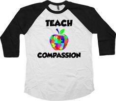 Autism Teacher Gifts Awareness T Shirt Autistic Support Teacher TShirt Autism Advocate Clothing Teach Compassion Baseball Raglan Tee - SA772