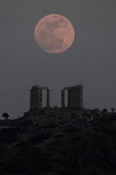 Super Moon, The Temple of Poseidon, Sounio Greece
