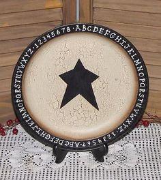 primitive vintage tin plate ABCs crackle black star farmhouse country home decor