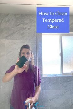 Learn how to clean tempered glass surfaces in your home, such as shower doors, new windows, and sliding glass doors. #homeviable #howtoclean #temperedglass #glassdoors